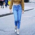 2017 Abner New American Vintage de la Marca Denim Jeans Mujeres Moda de Cintura Alta Sólido Delgado Longitud Del Tobillo Del Harem Pantalones Vaqueros Mamá