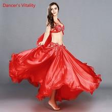 Новое поступление, летняя женская Одежда для танцев Одежда для танца живота комплект из 2 предметов, пряжа для воды + модальный топ на бедрах, вечерние красные шарфы