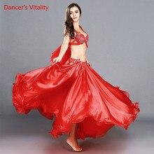 جديد وصول الصيف النساء Dancewear أحذية بطن Dancewear 2 قطعة مجموعة المياه الغزل + مشروط أعلى من الورك حزب الأحمر وشاح