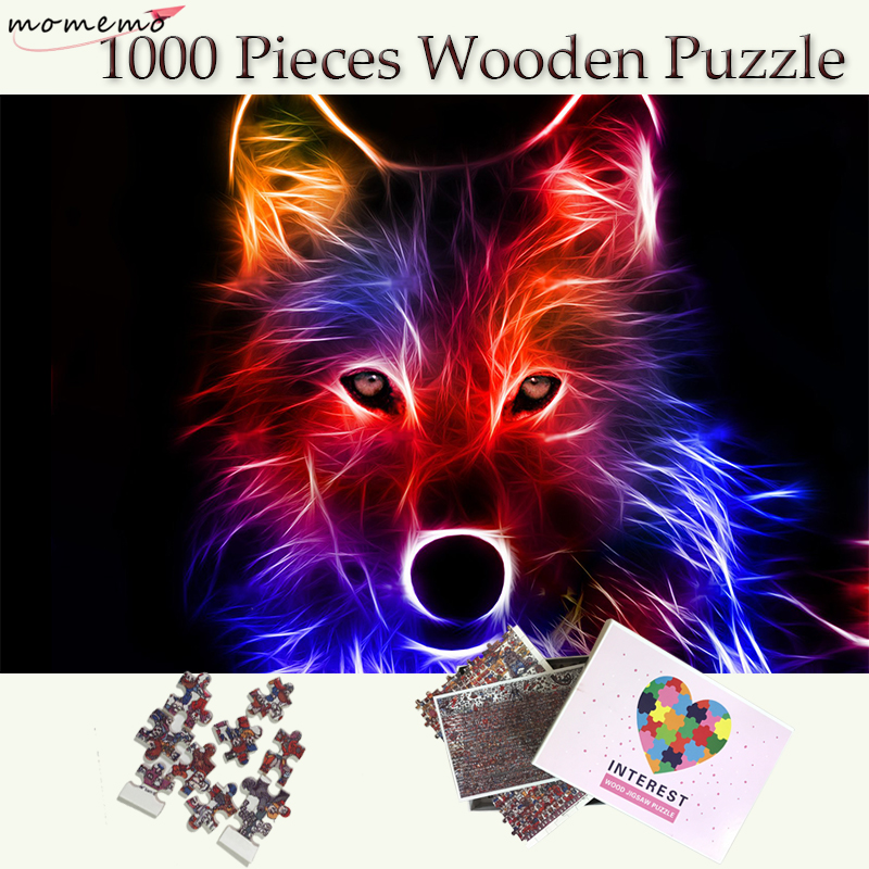 MOMEMO Wolf Puzzle 1000 Pieces Wooden Color Animal Jigsaw Puzzles 1000 Pieces Puzzle Games Toys Adult