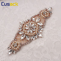 1 Pc Rose Red Peals Clear Crystal Rhinestones Applique For Wedding Dress Belts Hat Iron On