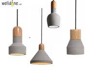 Loft Wonderful Statement Gray Industrial Concrete Pendant Wood Lamp For Coffee Shop Club Bar Hanging Lamp