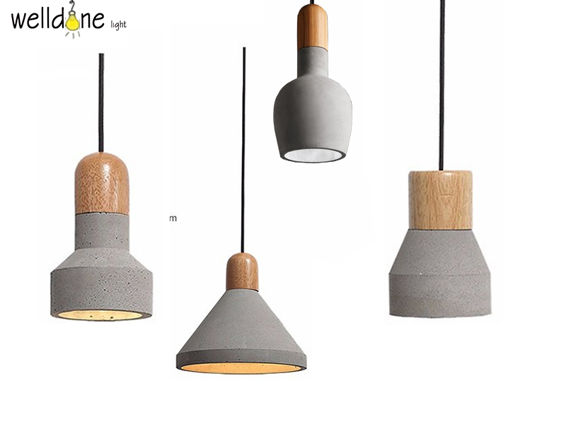 Loft wonderful statement Gray Industrial concrete pendant wood lamp for Coffee Shop Club bar Hanging lamp Scandinavian design