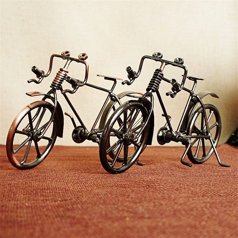Vintage Antique Bicycle Metal Bike Model Bronze Handicraft Home Decoration Photography Props Accessories Collections Figurines