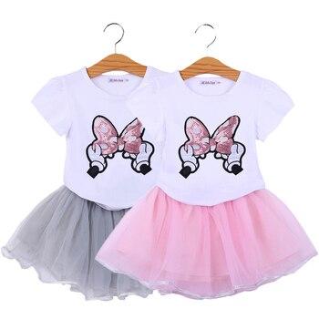 e6d5912d5b Conjunto de ropa de niñas de algodón de manga corta de verano de Mickey  Minnie conjuntos de ropa para niñas camisa y falda 2 piezas ropa de niños