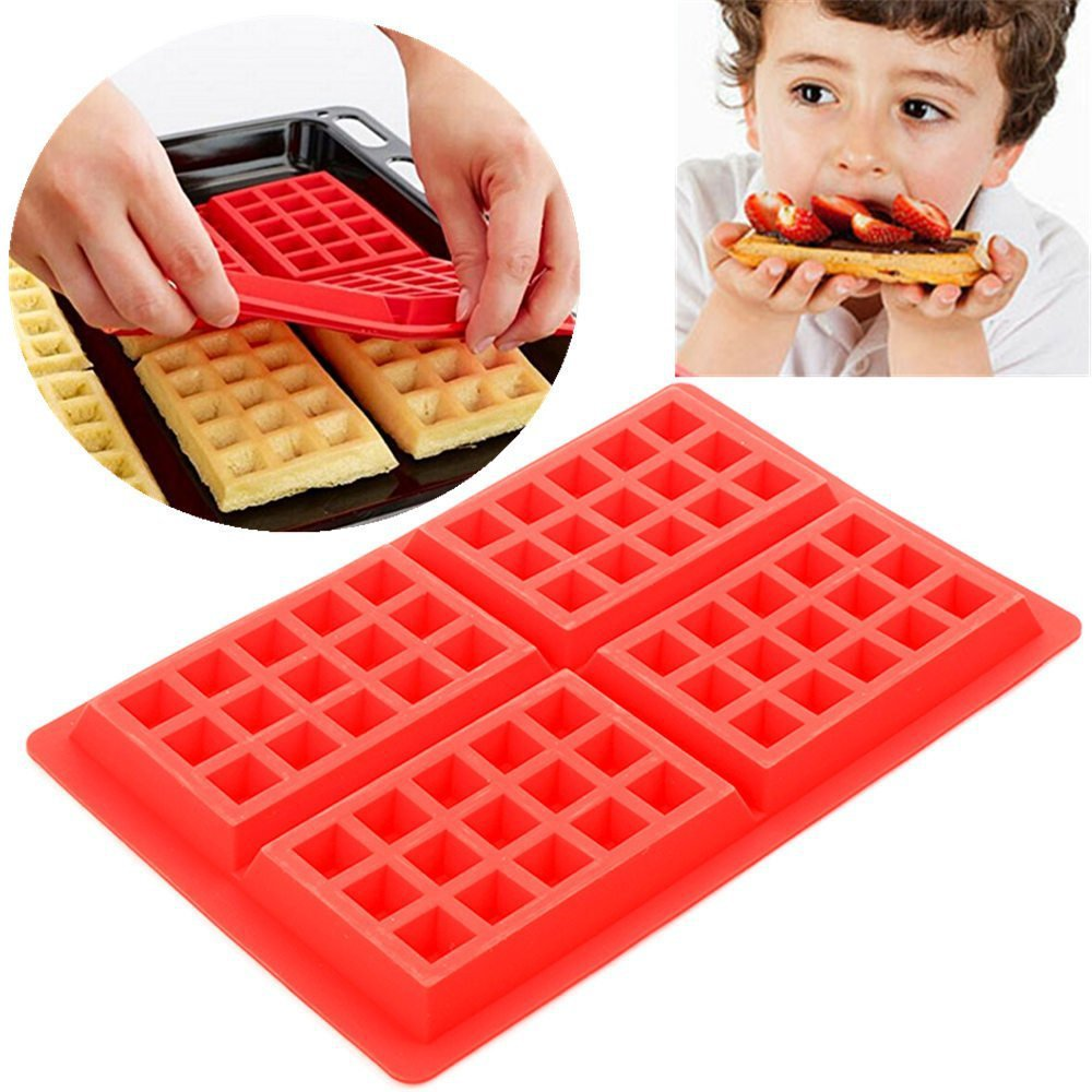 4 Grids Rectangle Silicone Waffle Molds Cake Mould Pancake and Waffle Maker DIY Hand-made Kitchen Bakeware Accessories AT57