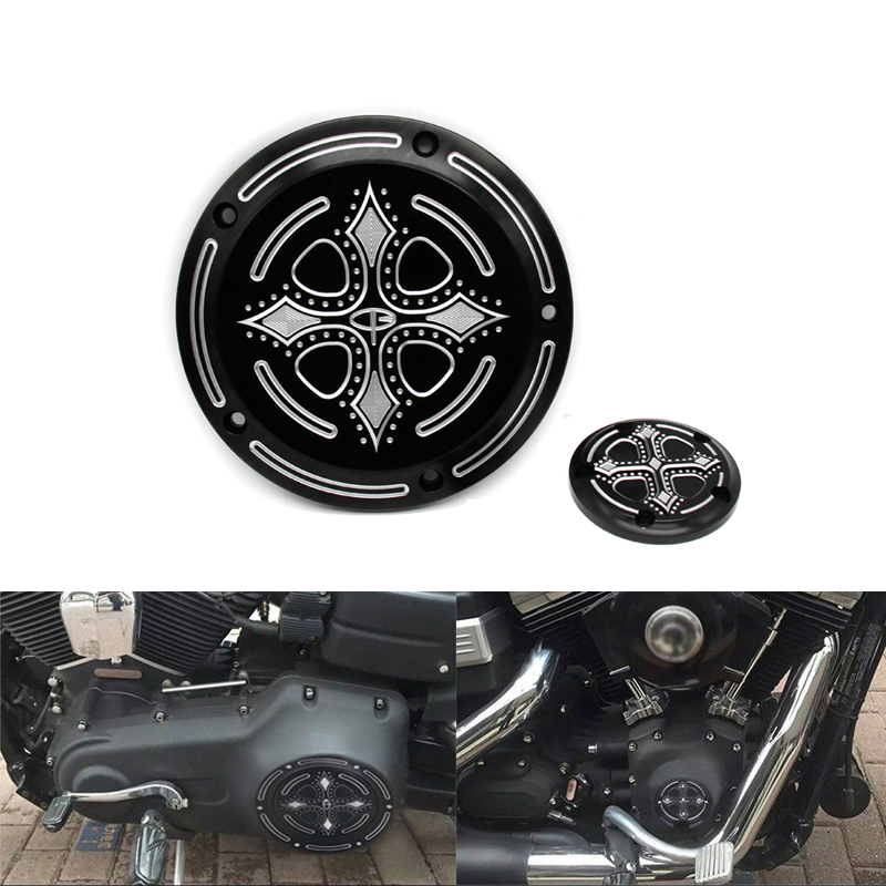 Motorcycle Parts Crow Cross Heart Engine Derby Timing Timer Cover CNC Beveled For Harley Road King Softail Dyna FLHRS FLTFB motorcycle parts crow cross heart engine derby timing timer cover cnc beveled for harley road king softail dyna flhrs fltfb