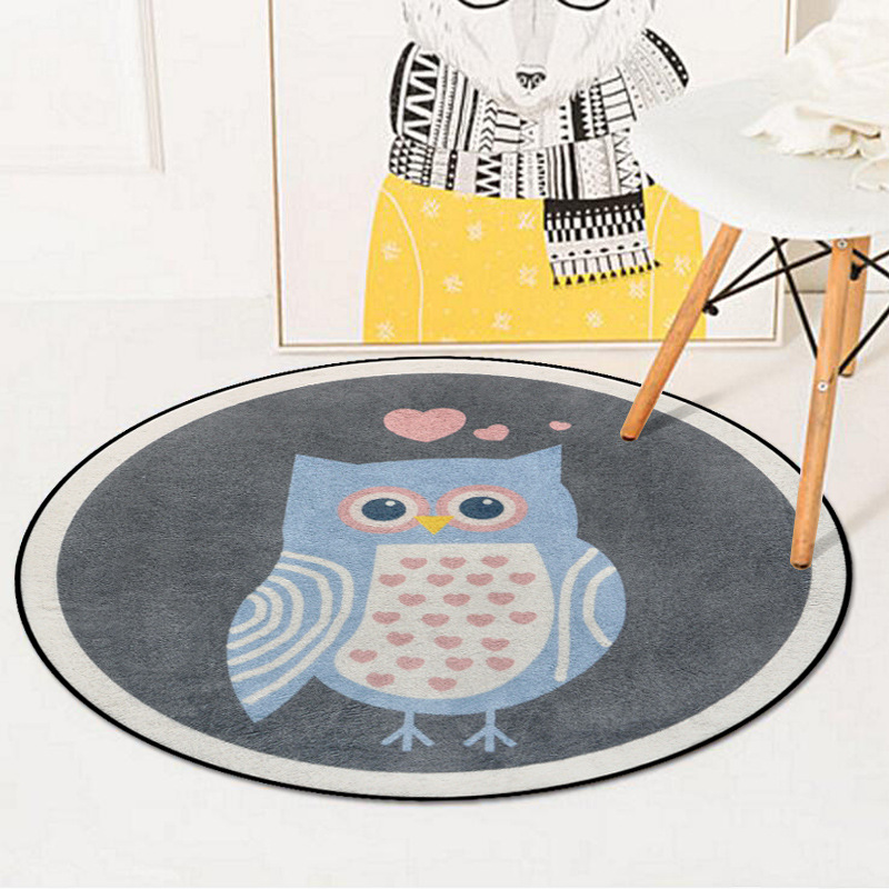 Cute Owl Bear Carpet Kids Room Modern Soft Round Carpet Computer Chair Round Rug Fashion Rugs For Bedroom Tent Floor Mat R602