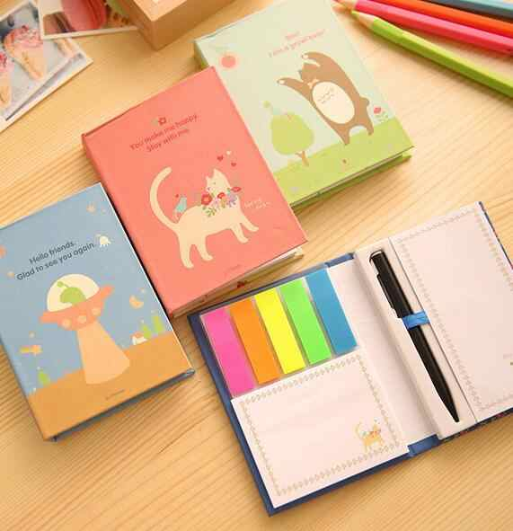 12 estilo Criativo Capa Dura Notepad Sticky Notes Memo Pad Post It Kawaii Papelaria Diário
