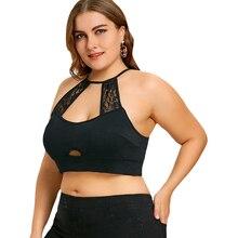 Plus Size 5XL Sexy Lace Crochet Trim Cut Out Camisole Black Halter Crop Top