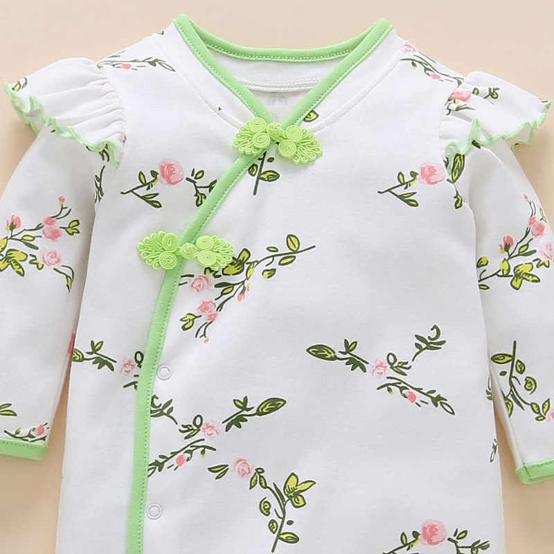 2017 Baby Girls Rompers Infant Full Sleeve Chinese Cheongsam Style Cotton Jumpsuit Nice Rose Floral Overall Cute Outfit Clothing
