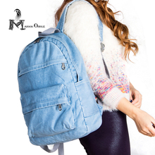 Женщины джинсовый рюкзак моды случайные рюкзак дизайнеры бренда женщин школьные рюкзаки рюкзак джинсовой