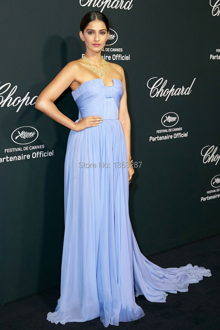 Hot Sake A Line Strapless Evening Gown Custom Made Cannes Film ...