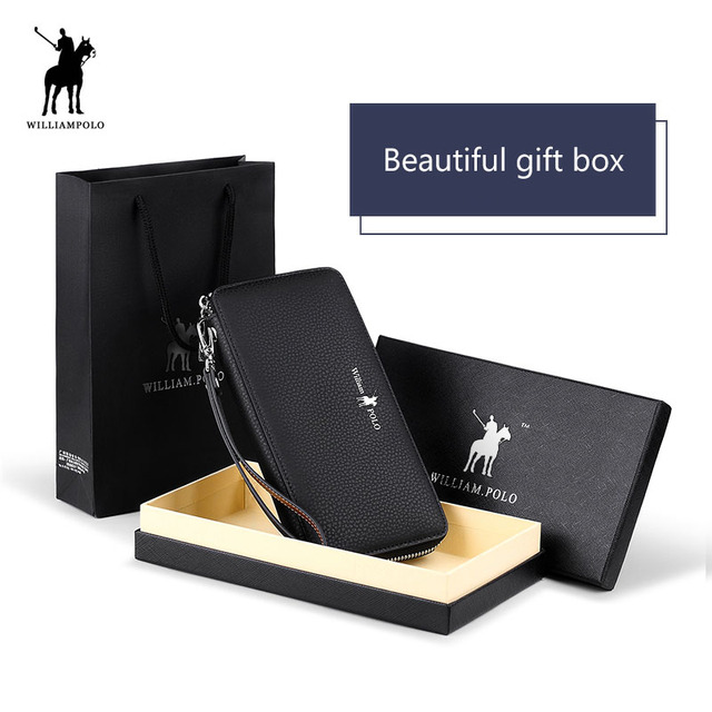 Genuine Leather Long Men Clutch Wallet With Zipper WILLIAMPOLO 2018 Fashion New Phone Credit Card Holder Handbag Male Gift box