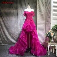 תחרה גבוהה נמוכה שמלה לנשף סיום לימודי חרוזים קצרים שפתוחה ארוך בחזרה שמלות ערב vestidos de formatura