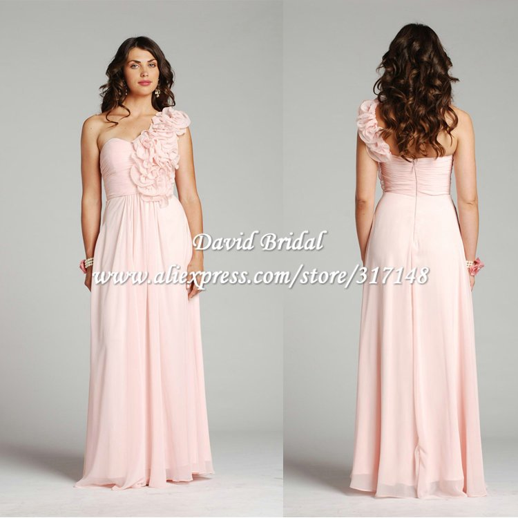 Light Pink Wedding Dress: Free Shipping HE439 Flowers Strap A Line Long Chiffon