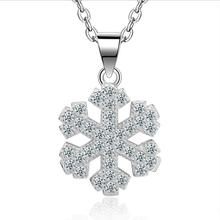 TJP Shiny Cubic Zirconia Snowflake Women Pendants necklace Girl Party Jewelry Top Quality 925 Silver Lady Choker Necklace Bijou