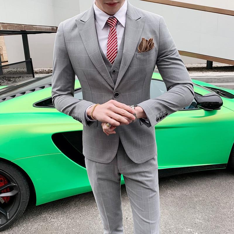Spring And Autumn New Suit Men's Plaid Business Casual Suit Three-piece Suit (jacket + Pants + Vest) Wedding Dress