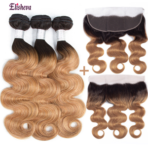 Elisheva Ombre Bundles with Frontal Peruvian Body Wave 1b/27 Remy Honey Blonde Human Hair 3 Bundles With Closure 13x4 PrePlucked(China)