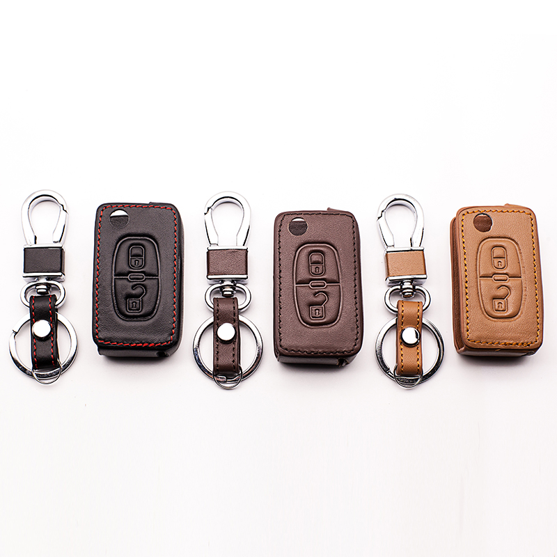 High quality leather key cover for Peugeot RCZ 206 207 306 307 308 407 408 for Citroen C2 C3 C4 C4L C5 C6 2 buttons car styling car believe custom car trunk mat for peugeot 5008 508 206 4008 306 307 308 207 cargo liner interior accessories car styling