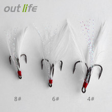 Outlife 20 PCS Stainless Steel Lures Fishing Treble Hooks with Feather