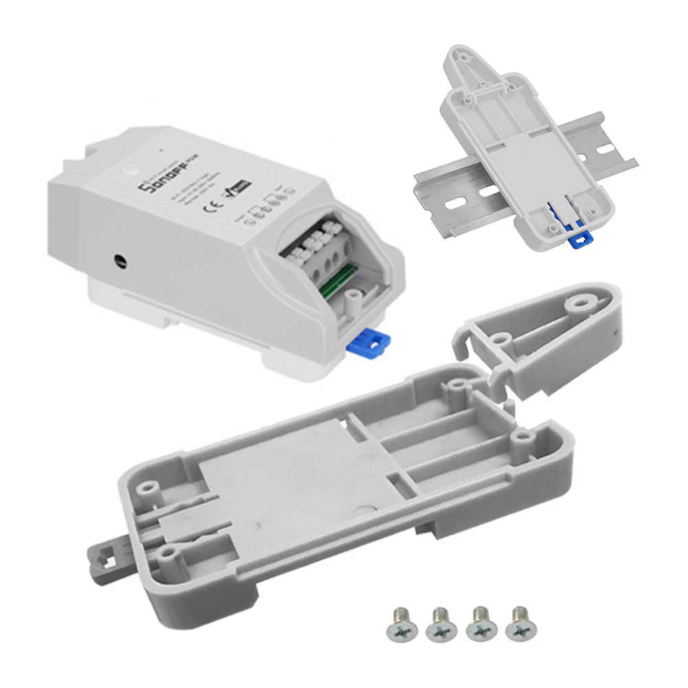 Sonoff untuk Dasar/Rf/POW/TH10/16/Dual WIFI Smart Switch Dr Din Tray Rail case Pemegang Mounted Adjustable Kotak Rumah Alexa