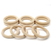 "68mm(2.67"")20pcs Nature Wooden Ring Teether Montessori Baby Toy Organic Infant Teething Toy Accessories Necklace"