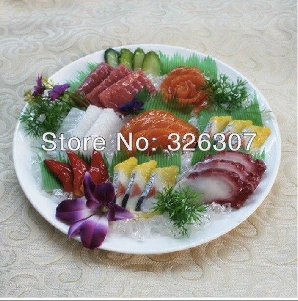 Blanc grand modèle sashayed 3D Menus alimentaires Simulation plateau de sashimi plats modèle faux stéréo sashimi recettes alimentaires