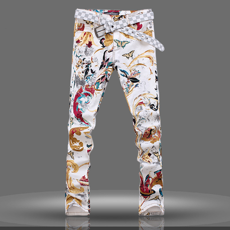 Korean style young boy jeans long pants tide fashion slim printing jeans trousers spring summer men's middle-waist long pants