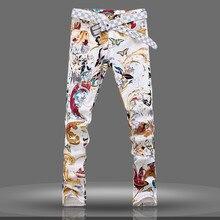 Корейский стиль мальчик джинсы длинные брюки прилив моде тонкая печати джинсы брюки весна лето мужчины среднего талии длинные брюки