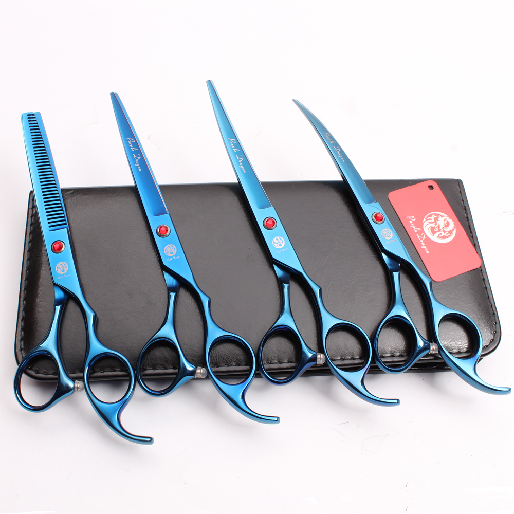Z3003 4Pcs Set 7 Blue Color Pets Hair Suit Cutting Shears + Thinning Scissors Professional Dogs Cats Up/Down Curved