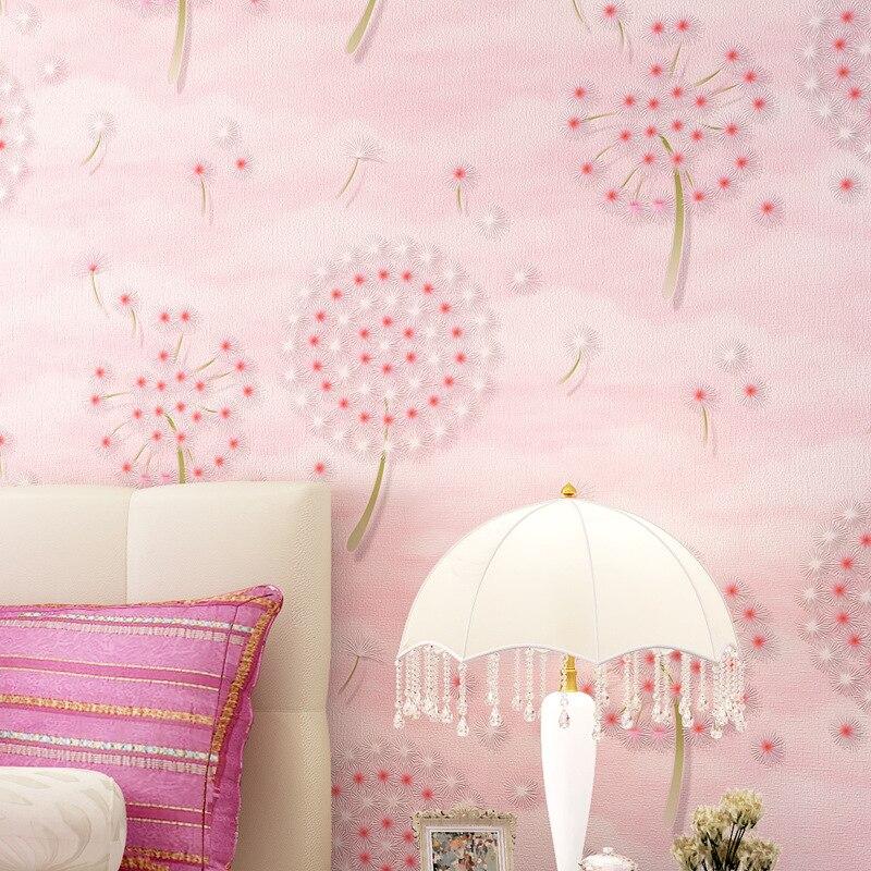 beibehang Pastoral wind dandelion children's room pink wallpaper boy girl princess room bedroom warm green wallpaper