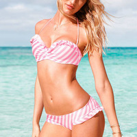 2016 HOT Sales Striped Pink Style Bikini Latest Push Up Bathing Swimwear Hanging Female Sexy Bikini