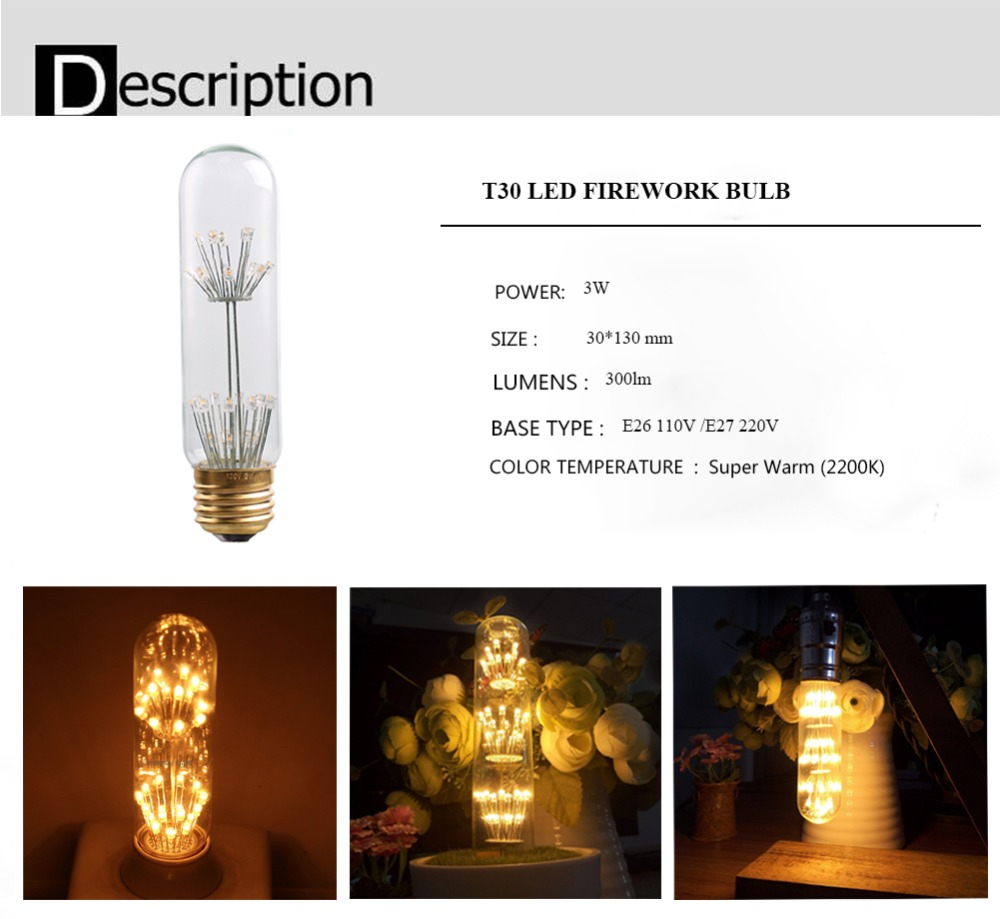 Bombilla LED de filamento decorativa cristal