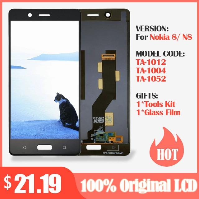 100% الأصلي LCD ل نوكيا 8 شاشة الكريستال السائل مع مجموعة المحولات الرقمية لشاشة تعمل بلمس الأسود ل نوكيا 8 شاشة الكريستال السائل استبدال