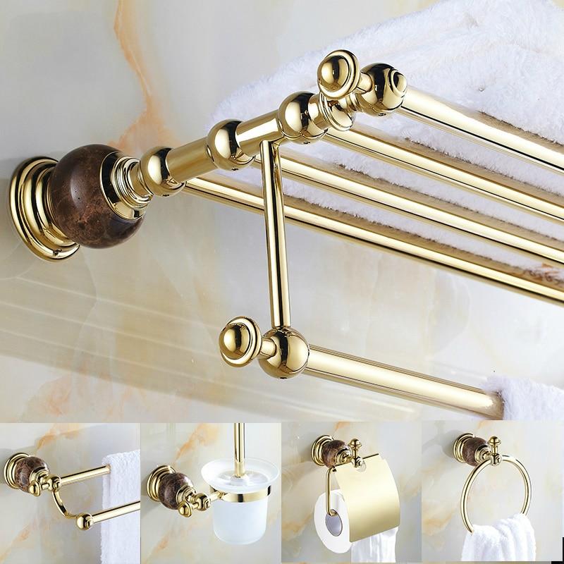 Beautiful Bath Hardware Sets Brass Towel Rack Shelf Gold Bathroom Accessories