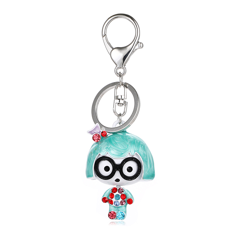 Hot sell cute girl I key chain rhinestone doll car oil painting girl women bag charm pendant keyring ysk041