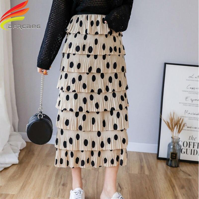Woman Fashion 2019 Spring Tulle Skirt Women A Line High Elastic Waist Polka Dot Ruffles Chiffon Skirt Long Skirts For Women Saia-in Skirts from Women's Clothing on AliExpress - 11.11_Double 11_Singles' Day 1