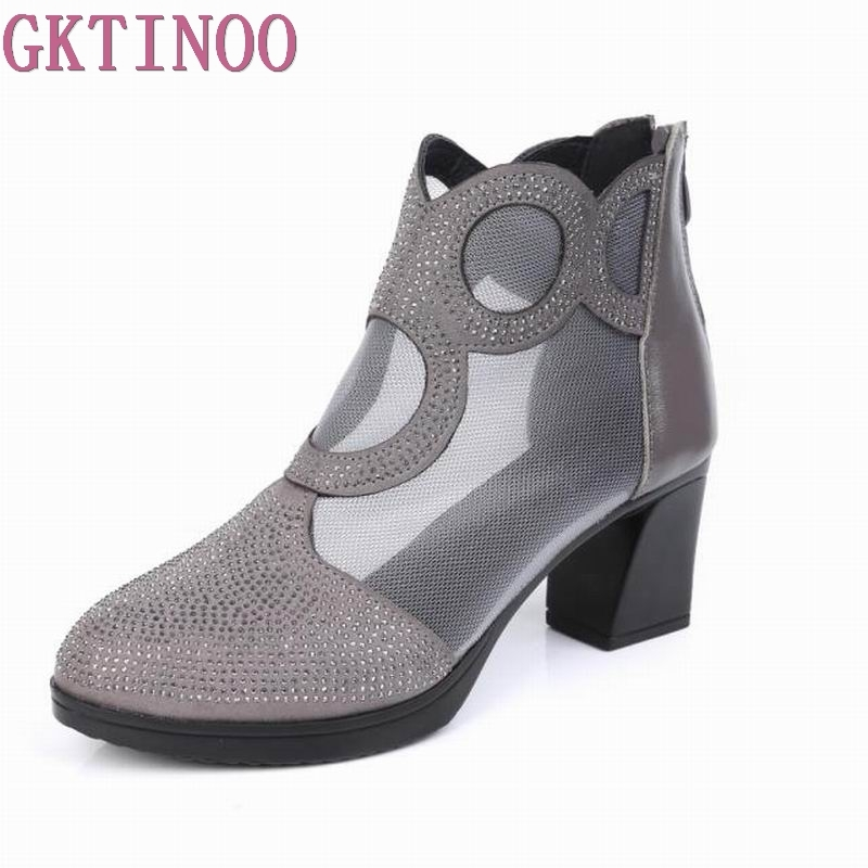 GKTINOO Women Sandals Genuine Leather Ankle Boots Mesh Summer Boots Zapatos Chaussures Femme Square High Heel