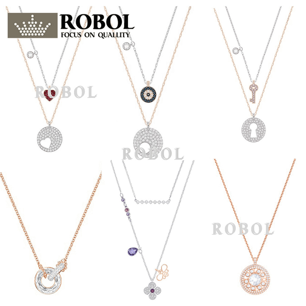ROBOL High Quality Swa Original Necklaces Pendants Jewelry Making For Women Wholesale Brand 1:1 Production Gifts For WomenROBOL High Quality Swa Original Necklaces Pendants Jewelry Making For Women Wholesale Brand 1:1 Production Gifts For Women