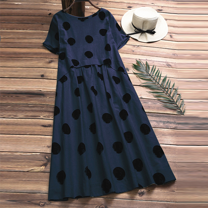 2019 Plus Size Summer Casual Women O Neck Short Sleeve Cotton Linen Vintage Polka Dot Loose Pleated Party Long Dress Vestidos