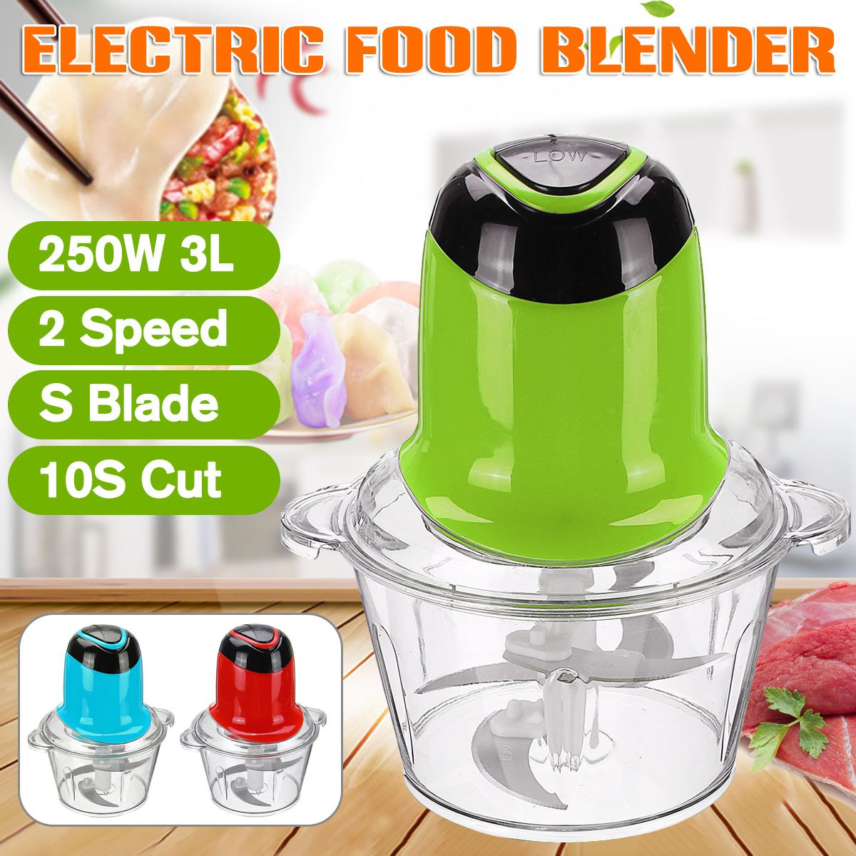 3L 250W Electric Kitchen Meat Grinder Double Speed Food Chopper Shredder Stainless Steel Electric Household Kitchen Tools