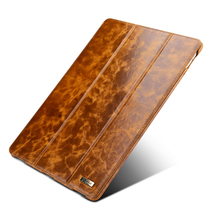ICARER Luxury Waxy Genuine Leather Smart Case For Apple iPad Pro 12.9 2015 2017 Vintage Auto Wake Sleep Flip Stand Cover Case