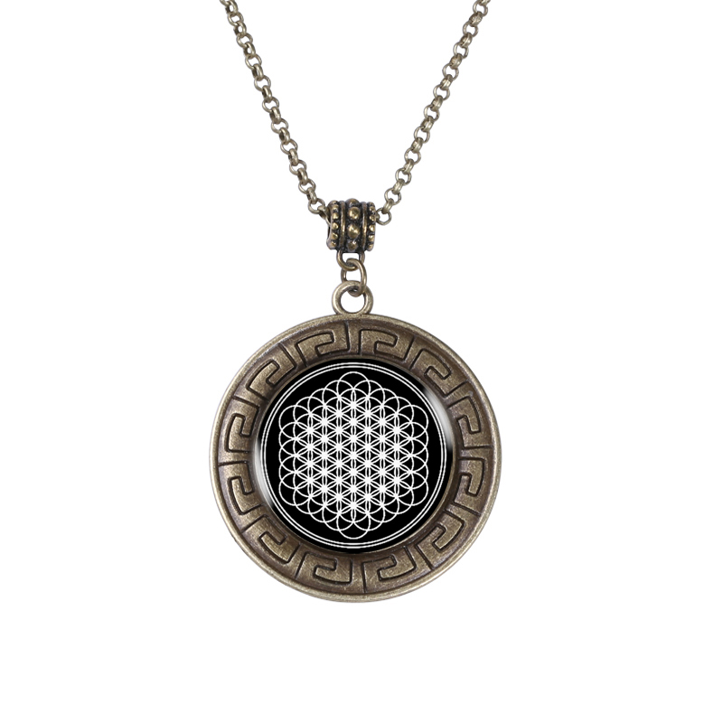 Flower of life seed of life pendant necklace mandala hexagon sacred flower of life bronze pendant necklace unique flower of life charm national style shield type vintage aloadofball Choice Image