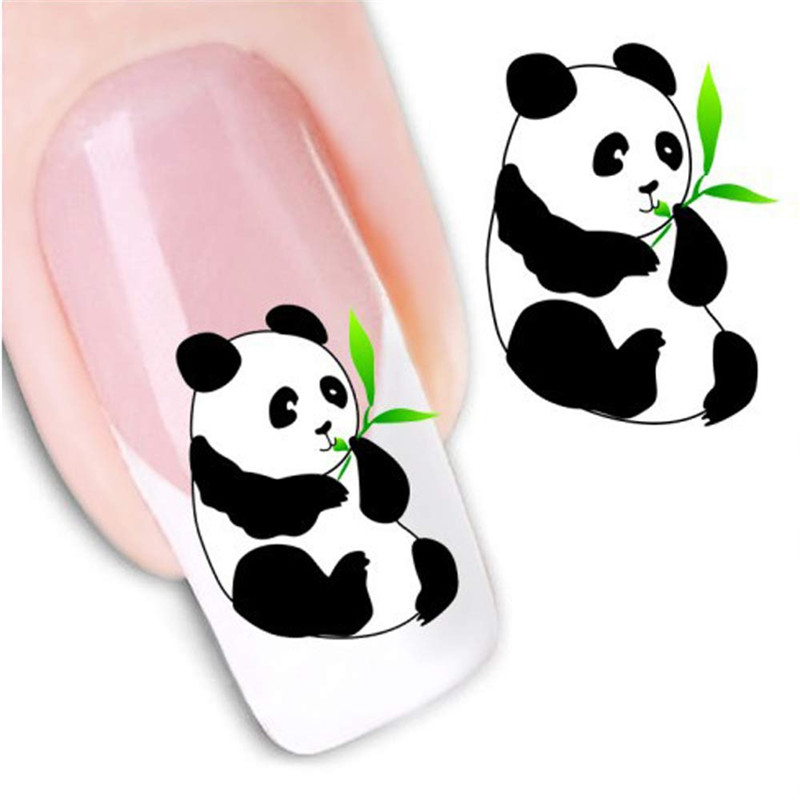 A 2017 Colorful Women s DIY Nail Sticker Water Transfer Stickers Cute cartoon pattern Finger Nail