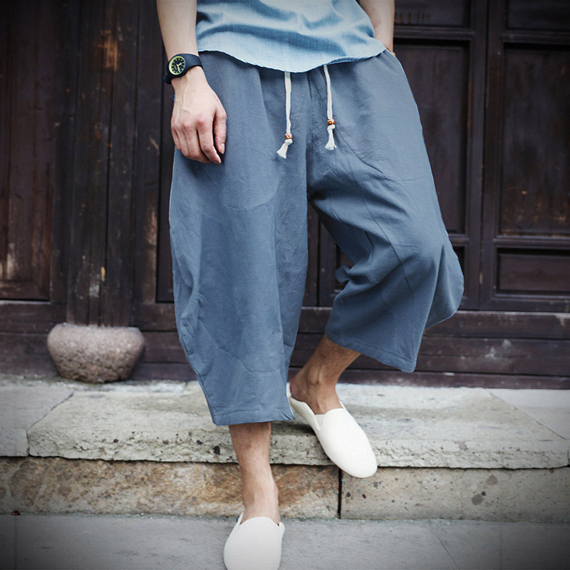 Cotton Linen Chinese Style Mens Capri Harem Pants Wide Leg Loose Elastic Lace Up Waist Trousers 2019 Summer Casual Male Bottoms