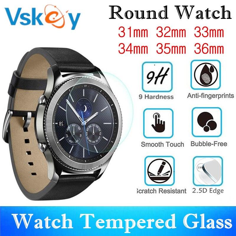 VSKEY 100PCS Universal Round Smart Watch Tempered Glass Diameter 31mm 32mm 33mm 34mm 35mm 36mm 30mm