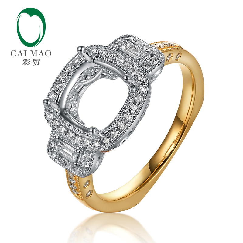 Caimao 8.5mm Cushion cut 0.43ct Baguette and Round Diamond 14k White and Yellow Gold RingCaimao 8.5mm Cushion cut 0.43ct Baguette and Round Diamond 14k White and Yellow Gold Ring