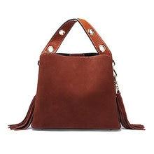 a01246bd31 2018 Retro Style Suede Leather Women Bucket Bag Genuine Leather Handbag with  Tassel Shoulder Messenger Bag 2 Strap