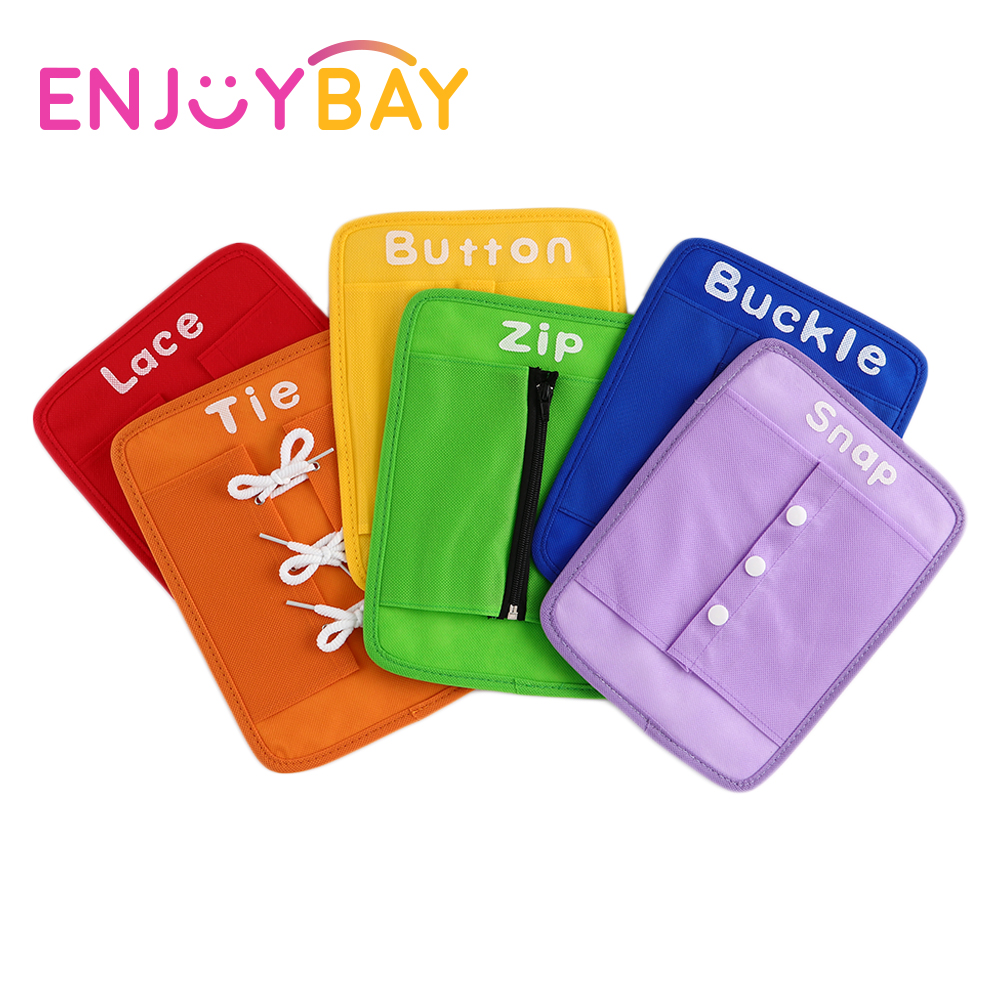 Enjoybay 6pcs/set Dress Learning Board Toy Button Buckle Lace Snap Tie Teaching Funny Toy Early Educational Toys for Children